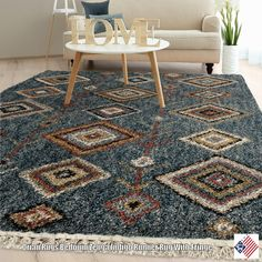 Rich earth tones swim in an indigo sea with the intricate, yet irregular, design of Zenga Indigo. Plush construction makes this high pile rug a welcome addition to your homes most comfortable rooms, while off-white fringe borders offer an element of fun...