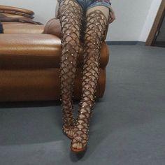 Studded Thigh High Heel Boots