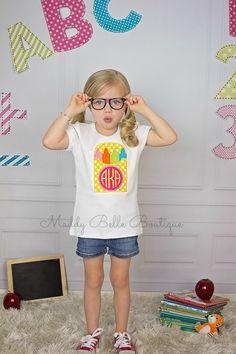 Back to School Crayon Box Monogram Appliqued by MaddyBelleBoutique, $24.00