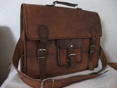 Rustic Destressed Leather Messenger Bag Briefcase Laptop Satchel fits Macbook Pro 15