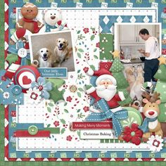 Cute digital scrapbook Christmas layout. Our dogs are such helpers in the kitchen that Santa would be proud of these little elves!! Layout created using Kringle & Company Collection by Nitwit Collections™ Hope this provides a little digital scrapbooking layout idea for Christmas.