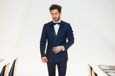 Male Fashion blogger, Raphael Simacourbe wearing the Chet navy tuxedo.