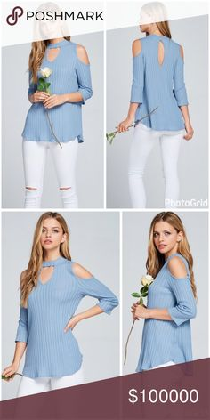 Prada blue Modal ribbed 3 qtr sleeve top! Vertical Pointelle Choker neck front and back keyhole cold shoulder top Fabric Content: 50 % Modal 50% Cotton Tops