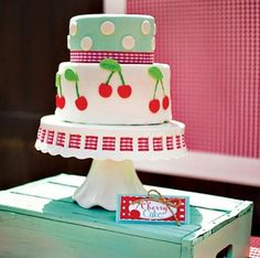 Cherry on top themed birthday party cake with polka dots and cherry pairs Fruit Birthday, Birthday Fun, First Birthday Parties, Birthday Party Themes, Cherry Baby, Cherry On Top, Festa Pin Up, Pin Up Party, Party Stuff