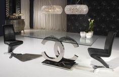 Mesa de comedor coleccion Calima rectangular realizada en acero inoxidable, tapa de cristal canto pulido. Cristal de 180x90x1,2 cm