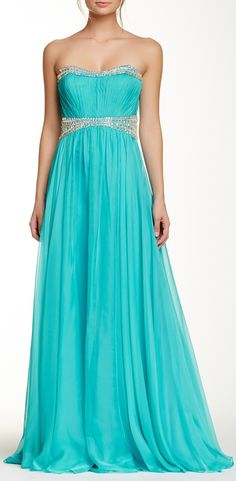 Strapless Embellished Gown