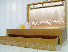 Vintage Gold Hard Shell Jewelry Box with Silver by DivineOrders, $36.00