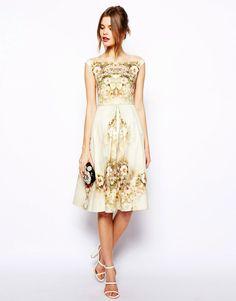 e195ee94cc9 Lyst Asos Vintage Floral Midi Bardot Dress in White