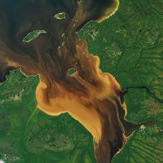 When the Operational Land Imager (OLI) on Landsat 8 captured this image of Rupert Bay on July 30, 2016, tannin-stained (dark brown) river water was flowing into the bay at the same time that turbid seawater appeared to be pushing in due to the rising tide. The shallowness of the bay, some suspended mud and sediment kicked up by the tide, and mixing of the stained river water and sea water likely gave the sea water a light brown appearance. Note that the colored plumes and intricate vortices…
