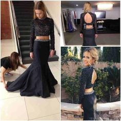 Sexy Prom Dresses,2 Pieces Prom Dress,Backless Evening Gown,Long