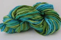 Turquoise / Kiwi Multi Color Hand Spun, Hand Dyed  Thick and Thin   Super Chunky Wool Yarn