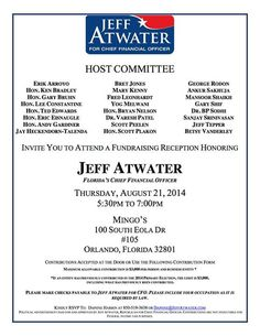 political fundraiser flyer atwater reelection fundraiser set for thursday in downtown orlando