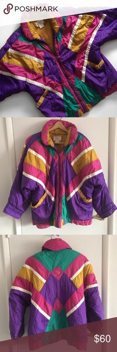 """Vintage 80s Coat Super cute and cozy 80s vintage jacket. Looks great oversized or fitted!💕 Condition:    *Great preloved condition    *one stain    *see photos for examples of wear Fit: size M but fits women's L/XL Measurements(est):    *pit to pit 26""""in laying flat    * 30""""in length    *24""""in arm length Materials:    *Nylon    *Polyester Otello Pelle Jackets & Coats"""