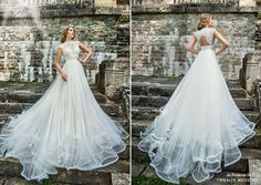 Whimsical ethereal gown from Maya Fashion featuring soft airy train and vintage-inspired embroideries!