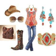 Cowgirls love a ruffle or two or more!, created by peridotsgarden on Polyvore