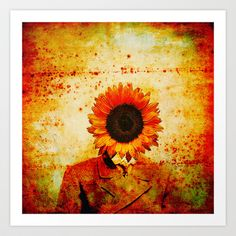 Head of sunflower Art Print by ganech - $15.60
