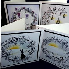Getting ready for the Chertsey Museum craft and wine evening in November. We'll be making winter scene cards with a mixture of Card-io , Ho. Christmas Cards To Make, Christmas Greeting Cards, Holiday Cards, Wedding Cards Handmade, Handmade Cards, Cardio Cards, Lavinia Stamps Cards, Card Making Tips, Sabbats