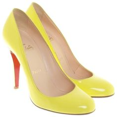 Pre-owned pumps in Neon Yellow ($380) ❤ liked on Polyvore featuring shoes, pumps, yellow, christian louboutin shoes, christian louboutin pumps, yellow stilettos, stilettos shoes and yellow pumps