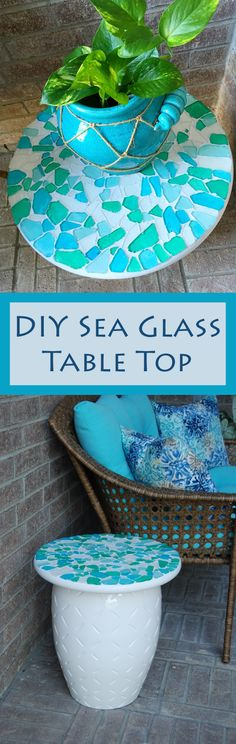 Transform a small plain stool into a decorative side table with a DIY Sea Glass Table Top.
