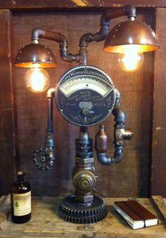 Steampunk lamp industrial art machine age light by Steamagedesign, $1600.00