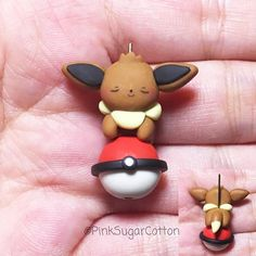 Hi everyone! Sleeping Eevee for today's post! You like it? Also, I will be announcing something very exciting on my stories later today, so don't forget to check them out and let me know your thoughts ❤️ #handmadepokemon #sleepingpokemon #eevee #pokemon #handmade #clay #claycharms #pokemonnecklace #cute #kawaii #claycharms #polymerclay #pinksugarcotton
