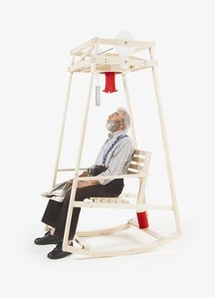 Two longtime porch activities are now combined into one simple contraption thanks to designers Damien Ludi and Colin Peillex, creators of the Rocking Knit. The wooden rocking chair is rigged to knit as you sway back and forth, producing a cap from minimal energy output. The invention was produce