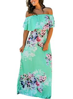 fdf42e333f6 Happy Sailed Women Floral Print Off Shoulder Maxi Dresses... https