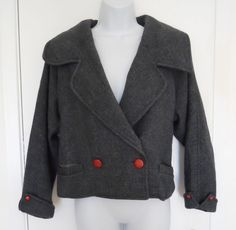 vtg 1960s Gina Fashion charcoal gray tweed wool double breasted women's jacket 9 #Gina
