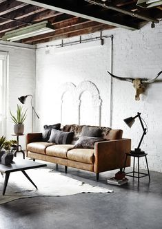 Your living room industrial interiors, rustic industrial decor, industr Rustic Industrial Decor, Industrial Interior Design, Home Interior Design, Rustic Sofa, Vintage Industrial, Industrial Bathroom, Industrial Closet, Industrial House, Industrial Style