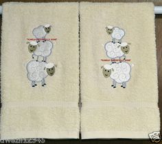 LOVE EWE SHEEP STACK - 2 EMBROIDERED HAND TOWELS by Susan