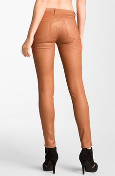J Brand Pencil Leg Stretch Twill Leggings (Coated Rust) available at #Nordstrom