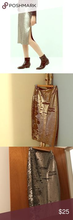 Mango sequin side slit skirt Super cute high waisted silver sequin skirt with a side slit from Mango - never worn! Mango Skirts Midi