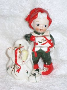 Vintage Christmas Lefton Pixie Elf Santa by BrilbunnySelections Retro Christmas Decorations, Vintage Christmas Cards, Vintage Holiday, Christmas Past, Christmas Angels, Christmas Holidays, Christmas Classics, Christmas China, Kitsch