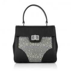 Prada Tasche – Borsa A Mano Tessuto + Lucerto Nero + Roccia – in beige, schwarz – Henkeltasche für Damen