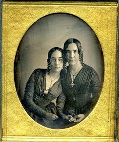 Sixth plate daguerreotype of 2 sisters
