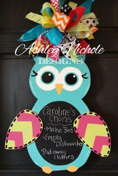 Chalkboard Owl Door Hanger Door Decoration by DesignsAshleyNichole, $55.00