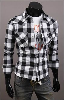 Men's Long Sleeve Button Down Plaid Shirt