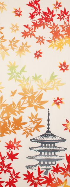Japanese washcloth, Tenugui 手ぬぐい 紅葉と五重塔 japanese pagoda in autumn. Japanese Textiles, Japanese Patterns, Japanese Prints, Japan Illustration, Japanese Pagoda, Japanese Symbol, Japan Image, Japan Art, Japan Japan