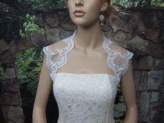 Ivory sleeveless bridal alencon lace wedding bolero by alexbridal, $44.99
