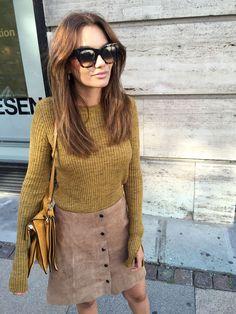 mustard, suede skirt