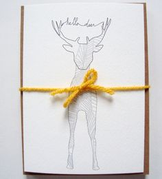Hand Drawn Card Set  Hello Deer  All Occasion by LionandLisa, $10.00