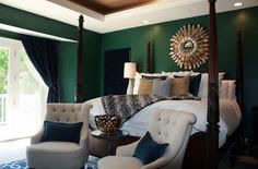 emerald wall bedroom transitional with green traditional side tables and end