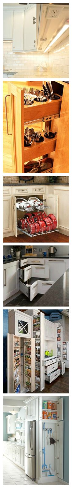 Kitchen Storage * Stow aways, pull outs, great organizing! Keep it clean and simple.
