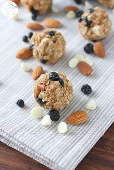 No Bake White Chocolate Blueberry Maple Granola Bites Recipe from A Kitchen Addiction @akitchenaddict