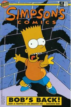 Bart Simpson gets scared and trapped by Sideshow Bob, much to his scream, seen from Sideshow Bob's shadow. #horror
