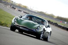 Driving a classic TVR Tuscan - racing green.
