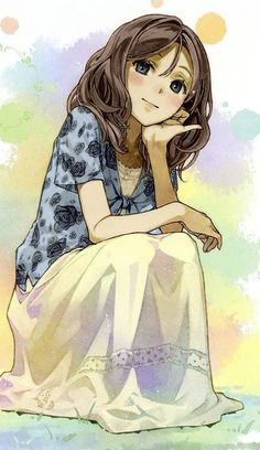 I really, really like this anime/manga girl character. She is so lovely... and I like the way her shirt reflects the color of her eyes.
