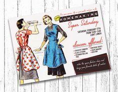 Relief Society Retro Homemaking Super Saturday Invitation