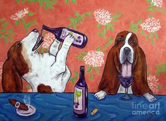 Basset Hounds at the Wine Bar Painting - Basset Hounds at the Wine Bar Fine Art Print Patty thought u would love this!!!