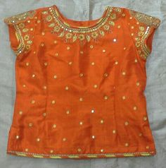 Rawsilk with mirror work and thread work Long Frocks For Kids, Skirts For Kids, Kids Frocks, Kids Indian Wear, Kids Ethnic Wear, Kids Blouse Designs, Blouse Designs Silk, Dresses Kids Girl, Kids Outfits